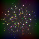 Bright abstract festive fireworks. Bright abstract festive fireworks over black background. Vector illustration Royalty Free Stock Images
