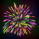 Bright abstract festive fireworks over black background. Stock Image