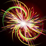 Bright abstract festive fireworks over dark background. Royalty Free Stock Images