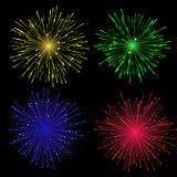Bright abstract festive fireworks set. Bright abstract festive vector fireworks set Royalty Free Stock Photography