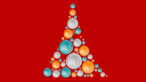 Bright abstract fir tree from Christmas balls stock video footage