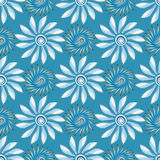 Bright abstract flowers on a blue background seamless pattern vector illustration Stock Photos