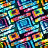 Bright abstract geometric seamless pattern in graffiti style. Quality vector illustration for your design Royalty Free Stock Photos