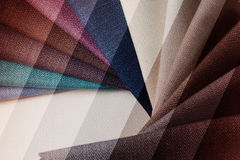 Bright abstract graphic background with gunny textile samples. Good for advertising backdrop. Royalty Free Stock Photo