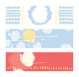 Bright abstract horizontal banners, hand drawn with brush and stripes, brush blobs and smears. Pink, yellow, blue accents. Vector Royalty Free Stock Image
