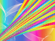 A bright abstract illustration. With a rainbow and stars royalty free illustration