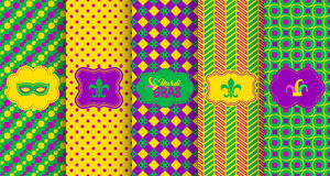 Bright abstract mardi gras pattern set Royalty Free Stock Photography