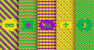 Bright abstract mardi gras pattern set. Vector illustration for holiday design. Carnival festival colorful bead backdrop, border, frame. Light yellow, green Royalty Free Stock Photo