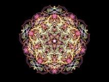 Bright abstract multi colored flame mandala flower, ornamental pentagonal pattern on black background.  vector illustration
