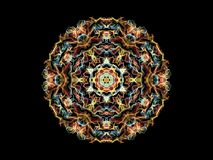 Bright abstract multi colored flame mandala flower, ornamental round pattern on black background.  royalty free illustration