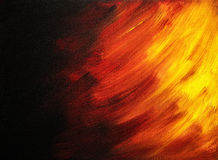 Bright abstract painting that looks like flames in night. Painted with acrylic paints Stock Image