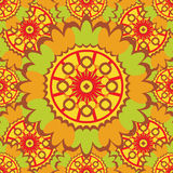 Bright abstract seamless pattern with round ornamental elements. Royalty Free Stock Images