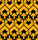 Bright abstract seamless pattern with yellow arrows. Vector wall Stock Photos