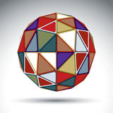 Bright abstract spherical object with kaleidoscope effect, 3d gl Stock Images