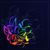 Bright Abstract Stylization Colorful Flower in Dark Blue  Stock Photos