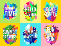 Bright Abstract Summer Sale Banners Collection. Summer time sales advertisement 6 bright abstract banners collection with beach party announcement isolated Stock Images