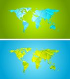 Bright abstract tech polygonal world map design Royalty Free Stock Photo