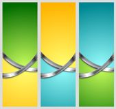 Bright abstract tech vertical banners with metal Royalty Free Stock Photos