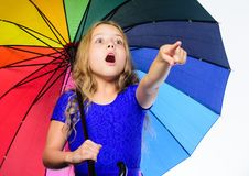 Bright accessory for autumn. Ideas how survive cloudy autumn day. Small girl with umbrella rainy day weather. Little. Girl with umbrella. Autumn fashion. Stay royalty free stock images