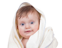 Bright adorable baby under towel Stock Images