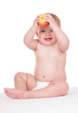 Bright adorable baby on white Royalty Free Stock Images