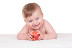 Bright adorable baby on white Stock Photos