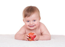 Bright adorable baby on white Royalty Free Stock Photography