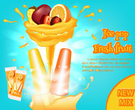 Bright advertising fruit ice cream, ice. Frozen fruit juice. 3D illustration. Vector. Stock Image