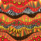 Bright African Seamless Ornament With Zebra And Leopard Skins Royalty Free Stock Photography