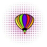 Bright air balloon icon, comics style Royalty Free Stock Photos