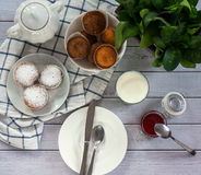 Bright and airy breakfast with muffin, berry jam and milk in glass. Top view, instagram square Stock Images