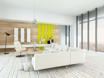 Bright airy living room with rustic decor. With wood veneered walls, white painted floorboards, modern white lounge suite and chair , yellow accents, and large Royalty Free Stock Photography