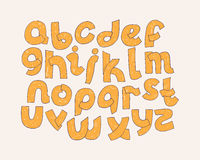 Bright  alphabet. Hand drawn font decorated with hatching written in yellow solid color. Educative illustration typography s Stock Photography