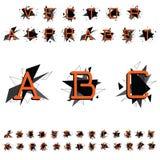 Bright alphabet. Orange letters on a geometric background. stock illustration