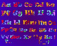 The bright alphabet on a purple background. The alphabet made in the paper cut equipment. Vector illustration. The multi colored letters on a purple background Royalty Free Stock Images