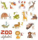 Bright Alphabet set letters with cute animals. Bright Alphabet set letters with animals vector illustration