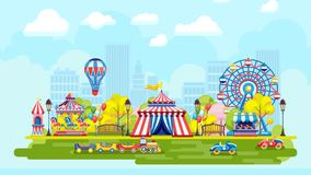 Colorful amusement park in city royalty free illustration
