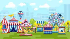 Carnival in city amusement park. Bright amusement park with roundabouts and fair on urban background vector illustration