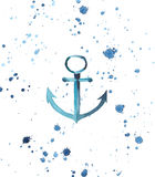 Bright anchor spray watercolor hand sketch. Bright blue anchor in the sea spray splashes isolated watercolor hand sketch Royalty Free Stock Images