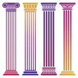Bright ancient columns set on white background vector illustration