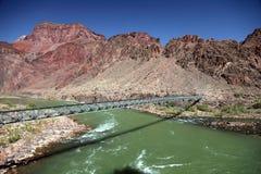 Bright Angel Bridge over Grand Canyon stock photo