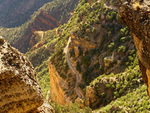 Bright Angel descent. Bright Angel Trail descending into the Grand Canyon from the South Rim stock photography