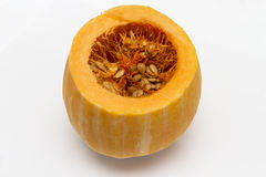 Bright appetizing pumpkin on a white background. Royalty Free Stock Photography