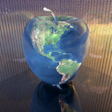 Bright apple with earth texture. In 3d Royalty Free Stock Photography