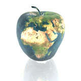 Bright apple with earth texture Royalty Free Stock Photos