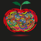 Bright apple in the primitive style doodle Royalty Free Stock Image