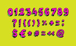 Bright Arabic numerals. Vector. Linear, contour figures. Isometry, 3D. Bulk numbers. Full set of marks and numbers. All signs are vector illustration