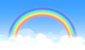 Bright arched rainbow with blue sky and white clouds. Vector Stock Photo