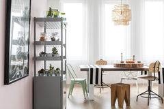 Bright area with dining table Stock Images