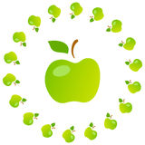 Bright art illustration of green mellow apples. Stock Photo
